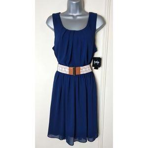 By & By Belted Chiffon Dress A-line Mini Sleeveles